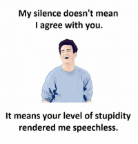 speechless: My silence doesn't mean  I agree with you.  It means your level of stupidity  rendered me speechless.