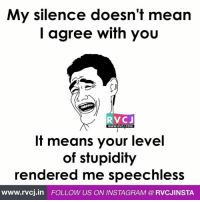 My silence.: My silence doesn't mean  I agree with you  RVC J  WWW. RVCJ.COM  It means your level  of stupidity  rendered me speechless  www.rvcj in FOLLOW US ON INSTAGRAM RVCJINSTA My silence.