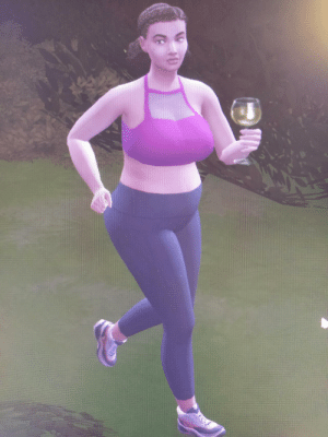 My sim, who just took her glass of wine with her on a jog. What a mood: My sim, who just took her glass of wine with her on a jog. What a mood