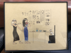 My sister penciled an Egyptian version of Woman Yelling at Cat meme: I framed it in my office: My sister penciled an Egyptian version of Woman Yelling at Cat meme: I framed it in my office