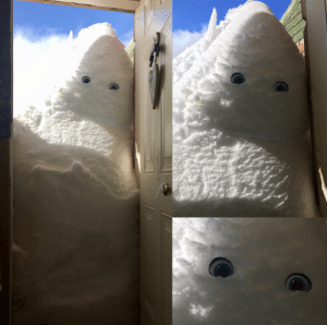 My sister put eyes on the snow drift on her porch in Montana.: My sister put eyes on the snow drift on her porch in Montana.