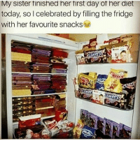 snickers: My SIster tinished her tirst day ot her diet  today, so I celebrated by filling the fridge  with her favourite snacks  SNICKERS