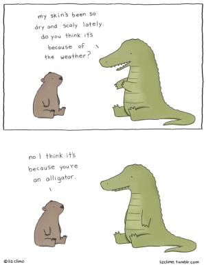 Target, Tumblr, and Alligator: my skin's been So  dry and scaly lately  do you think its  because of \  the weather  no think its  because you're  an alligator  @ liz climo  lizclimo. tumblr.com lizclimo:  what's my excuse