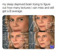 Memes, Brain, and Sleep: my sleep deprived brain trying to figure  out how many lectures i can miss and still  get a B average  on (0)  10  sín xdx=-cosx+C  sin222  2  cos x  tan  5  3  2x 60  sinx  300  MEMES  dx 1 l-