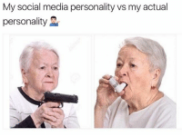 @tatum.strangely is a legend in the meme world.: My social media personality vs my actual  personality @tatum.strangely is a legend in the meme world.