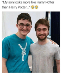 """@satan disguised as Harry's doppelgänger 🤣: """"My son looks more like Harry Potter  than Harry Potter @satan disguised as Harry's doppelgänger 🤣"""