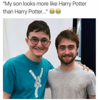 """We all have a doppelgänger out there 👯👯♂️: """"My son looks more like Harry Potter  than Harry Potter We all have a doppelgänger out there 👯👯♂️"""