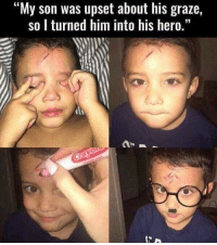 """Heroes, Hood, and Awww: """"My son was upset about his graze,  so I turned him into his hero."""" AWWW"""