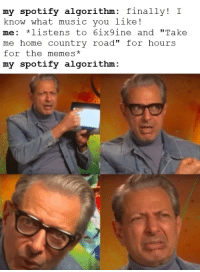 """Memes, Music, and Spotify: my spotify algorithm: finally! I  know what music you like!  me: *listens to 6ix9ine and """"Take  me home country road"""" for hours  for the memes*  my spotify algorithm: take me home to the place"""