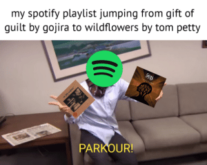 """Friends, Music, and Petty: my spotify playlist jumping from gift of  guilt by gojira to wildflowers by tom petty  PARKOUR! my friends say it's """"impossible to listen to music with me because my playlist is like a roulette table"""""""