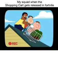 Go dummy 😂😂: My squad when the  Shopping Cart gets released in fortnite  OREC Go dummy 😂😂