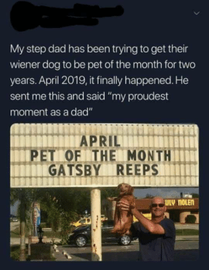 "Were proud of you Gatsby!!: My step dad has been trying to get their  wiener dog to be pet of the month for two  years. April 2019, it finally happened. He  sent me this and said ""my proudest  moment as a dad""  PET OF THE MONTH  GATSBY REEPS Were proud of you Gatsby!!"