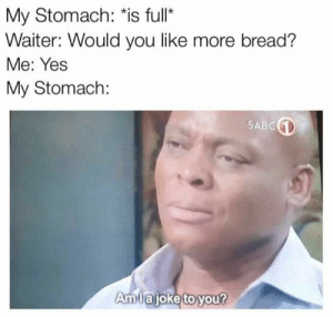 Memes, Yout, and Hilarious: My Stomach: is full'*  Waiter: Would you like more bread?  Me: Yes  My Stomach:  SABC  Amlajoke to yout Hilarious Memes of the Day to Make You Laugh - 40 Pics - JustViral.Net