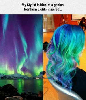 Tumblr, Blog, and Genius: My Stylist is kind of a genius.  Northern Lights inspired... srsfunny:Northern Lights Inspired
