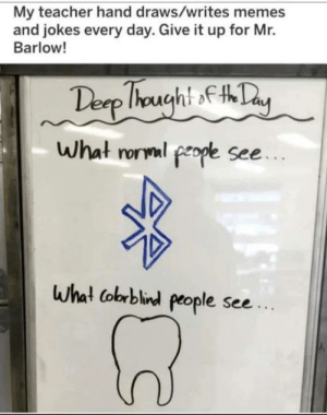 Meme, Memes, and Teacher: My teacher hand draws/writes memes  and jokes every day. Give it up for Mr.  Barlow!  Desp Ihought fty  What rorml people see...  What Cobrblind people see.. Pretty good meme actually