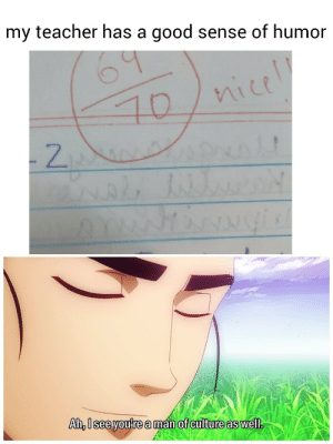 Totally worth the one mark I lost.: my teacher has a good sense of humor  nice  10  2  ANAL  Voxyo  Ah, Isee you're a man of culture as well. Totally worth the one mark I lost.