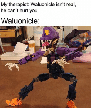 You, Real, and  Hurt: My therapist: Waluonicle isn't real  he can't hurt you  Waluonicle: