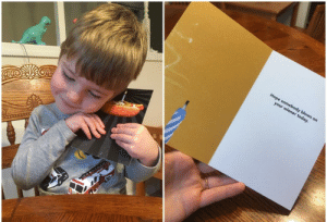 "My toddler picked out a ""super cool hot dog card"" for his favorite uncle.: My toddler picked out a ""super cool hot dog card"" for his favorite uncle."