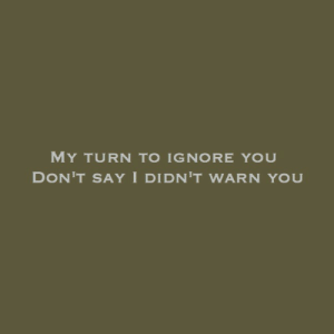You, You Dont Say, and Turn: MY TURN TO IGNORE YOU  DON'T SAY I DIDN'T WARN YOU
