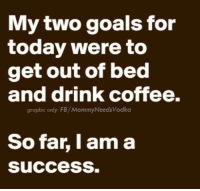 Dank, Goals, and Coffee: My two goals for  today were to  get out of bed  and drink coffee.  graphic only: FB/MommyNeeds Vodka  So far, I am a  success