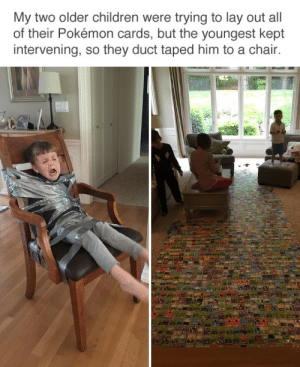 tastefullyoffensive:  Problem solved. (via savetheunicorns): My two older children were trying to lay out all  of their Pokémon cards, but the youngest kept  intervening, so they duct taped him to a chair. tastefullyoffensive:  Problem solved. (via savetheunicorns)