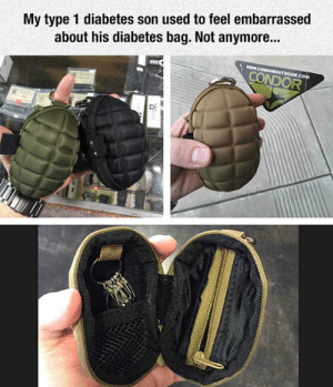 Tumblr, Blog, and Diabetes: My type 1 diabetes son used to feel embarrassed  about his diabetes bag. Not anymore...  www.COMDOROUTDOOR.COM  CONDOR  O0 srsfunny:Diabetes Bag Improvement