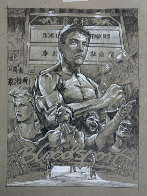 My Unofficial Bloodsport poster, pencil: My Unofficial Bloodsport poster, pencil