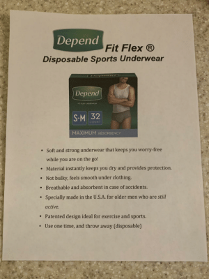 "My very elderly father has dementia & needs to start wearing depends, so I made a fake ad for ""Disposable Sports Underwear"" so he can use them without shame: My very elderly father has dementia & needs to start wearing depends, so I made a fake ad for ""Disposable Sports Underwear"" so he can use them without shame"