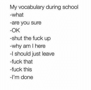 School, Fuck, and Shut the Fuck Up: My vocabulary during school  what  -are you sure  OK  -shut the fuck up  why am I here  -I should just leave  -fuck that  -fuck this  -I'm done Pretty accurate! 😂😳 https://t.co/otOVVEtqiY