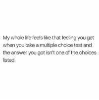 "Life, Memes, and Test: My whole life feels like that feeling you get  when you take a multiple choice test and  the answer you got isn't one of the choices  listed I found myself wondering, ""How did I end up here?"" as I took another sip of my boxed Merlot and tore another piece from my string cheese. 😅 @instaalcoholic"