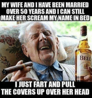 Facebook, Head, and Scream: MY WIFE AND I HAVE BEEN MARRIED  OVER 50 YEARS AND I CAN STILL  MAKE HER SCREAM MYNAME IN BED  BELL  TJUST FART AND PULL  THE COVERS UP OVER HER HEAD Stay classy Facebook...