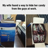 Candy, Kardashians, and Memes: My wife found a way to hide her candy  from the guys at work.  Tampons 😂😂lol - - - - - - - - text post textpost textposts relatable comedy humour funny kyliejenner kardashians hiphop follow4follow f4f kanyewest like4like l4l tumblr tumblrtextpost imweak lmao justinbieber relateable lol hoeposts memesdaily oktweet funnymemes hiphop bieber trump