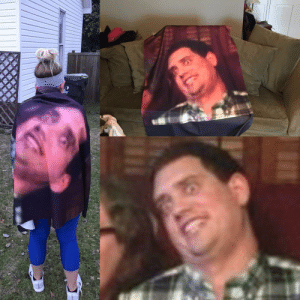 Wife, Her, and Valentine: My wife hates this picture of me, so naturally I made it into a blanket for her as a Valentine's gift.