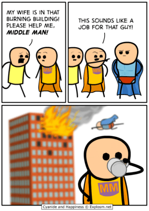 When you claimed machine learning skills on your CV only to be set a challenge to prove it, but know how to import scikit-learn.: MY WIFE IS IN THAT  BURNING BUILDING!  PLEASE HELP ME,  MIDDLE MAN!  THIS SOUNDS LIKE A  JOB FOR THAT GUY!  Cyanide and Happiness  Explosm.net When you claimed machine learning skills on your CV only to be set a challenge to prove it, but know how to import scikit-learn.