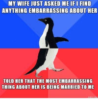 think i dodged that bullet: MY WIFE JUST ASKED ME IFIFIND  ANYTHING EMBARRASSING ABOUT HER  TOLD HER THAT THE MOST EMBARRASSING  THING ABOUT HER IS BEING MARRIED TO ME  made on imgur think i dodged that bullet
