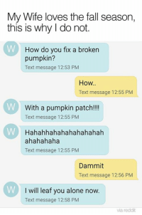 Dank, Fall, and Love: My Wife loves the fall season  this is why do not.  How do you fix a broken  pumpkin?  Text message 12:53 PM  How  Text message 12:55 PM  With a pumpkin patch!!!!  Text message 12:55 PM  Hahahhahahahahahahah  ahahahaha  Text message 12:55 PM  Dammit  Text message 12:56 PM  I will leaf you alone now.  Text message 12:58 PM  via reddit