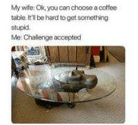 "Club, Tumblr, and Blog: My wife: Ok, you can choose a coffee  table. It'll be hard to get something  stupid.  Me: Challenge accepted <p><a href=""http://laughoutloud-club.tumblr.com/post/170312899056/bet-she-wasn-t-expecting-this-one"" class=""tumblr_blog"">laughoutloud-club</a>:</p>  <blockquote><p>Bet she wasn´t expecting this one</p></blockquote>"