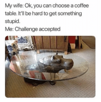 "Memes, Coffee, and Wife: My wife: Ok, you can choose a coffee  table. It'll be hard to get something  stupid.  Me: Challenge accepted <p>Awesome coffee table via /r/memes <a href=""https://ift.tt/2uMVoG5"">https://ift.tt/2uMVoG5</a></p>"
