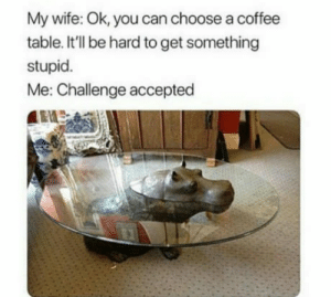 Club, Tumblr, and Blog: My wife: Ok, you can choose a coffee  table. It'll be hard to get something  stupid.  Me: Challenge accepted laughoutloud-club:  Bet she wasn´t expecting this one