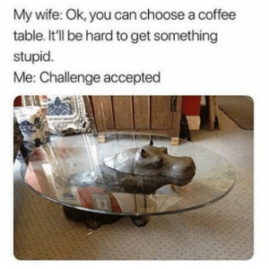 Lol, Coffee, and Wife: My wife: Ok, you can choose a coffee  table. It'll be hard to get something  stupid  Me: Challenge accepted HAHAH LOL