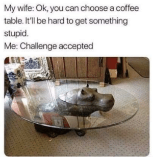 Dank, Memes, and Target: My wife: Ok, you can choose a coffee  table. It'll be hard to get something  stupid.  Me: Challenge accepted Motor moto tables are actually in rn by Dnlyfe30 MORE MEMES