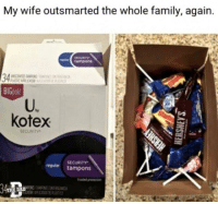 "Dad, Family, and Kotex: My wife outsmarted the whole family, again.  tampons  34%  BIGpok  SCENTED AMPON  U,  kotex  SECURITY  regular tampons  HE DAD <p><a href=""http://memehumor.net/post/176427775672/shes-brilliant"" class=""tumblr_blog"">memehumor</a>:</p>  <blockquote><p>She's Brilliant.</p></blockquote>"