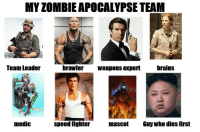 Brains, Zombie, and Apocalypse: MY ZOMBIE APOCALYPSE TEAM  ere  Team Leader  brawler Weapons expert brainS  medic  speed fighter  mascot  Guy who dies first