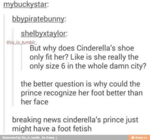 Learned something new about the princeomg-humor.tumblr.com: mybuckystar:  bbypiratebunny:  shelbyxtaylor:  this.is_tumblr.  But why does Cinderella's shoe  only fit her? Like is she really the  only size 6 in the whole damn city?  the better question is why could the  prince recognize her foot better than  her face  breaking news cinderella's prince just  might have a foot fetish  Reimemted by this i umblr. for ifay)  Humy co Learned something new about the princeomg-humor.tumblr.com