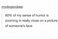 Memes, Jokes, and A Picture: mydogsnokes:  60% of my sense of humor is  zooming in really close on a picture  of someone's face face jokes https://t.co/x3TP5RyOwz