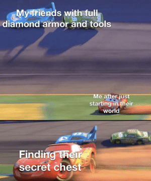 Back on track bois: Myfriends with full  diamond armor and tools  Me after just  starting in their  world  DHOLS  98  Finding their  secret chest Back on track bois