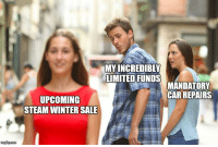 Thanks for breaking down car.: MYINCREDIBLY  LIMITED FUNDS  MANDATORY  CAR REPAIRS  UPCOMING  STEAM WINTER SALE Thanks for breaking down car.