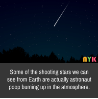 shooting stars: MYK  Some of the shooting stars we carn  see from Earth are actually astronaut  poop burning up in the atmosphere.
