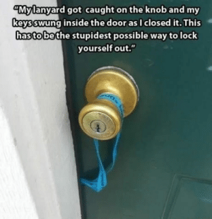 """Got, Bridge, and Door: """"Mylanyard got caught on the knob and my  keysswung inside the door as I closed it. This  hasto bethe stupidest possible way tolock  yourself out."""" Screw this, off to jump off a bridge"""