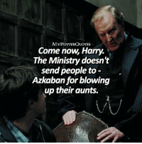 Memes, 🤖, and Harrypotter: MYPoTTERQUOTES  Come now, Harry.  The Ministry doesn't  send people to  Azkaban for blowing  up their aunts. harrypotter QOTD: Durmstrang or Beauxbatons? = Follow @mypotterfacts @bookgasms and @mypotterscenes for more of my posts!⚡️